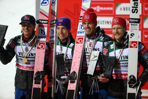Flawless Norway retain ski jumping team world title