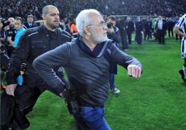 Greece vows action after soccer boss enters pitch armed