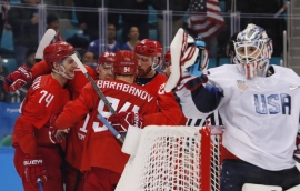 Ice Hockey: Russians shut out U.S. men, claim group lead